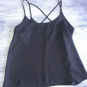 Crisscross black tank top